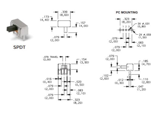 Slide switch SPDT (Right Angled)