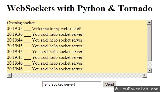 Raspberry Pi websockets with Python & Tornado | LowPowerLab